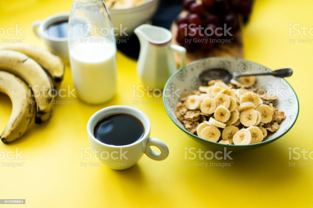 Coffe and granola for breakfast stock photo