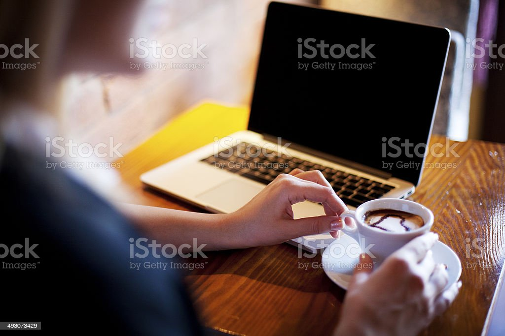 Coffe and laptop stock photo