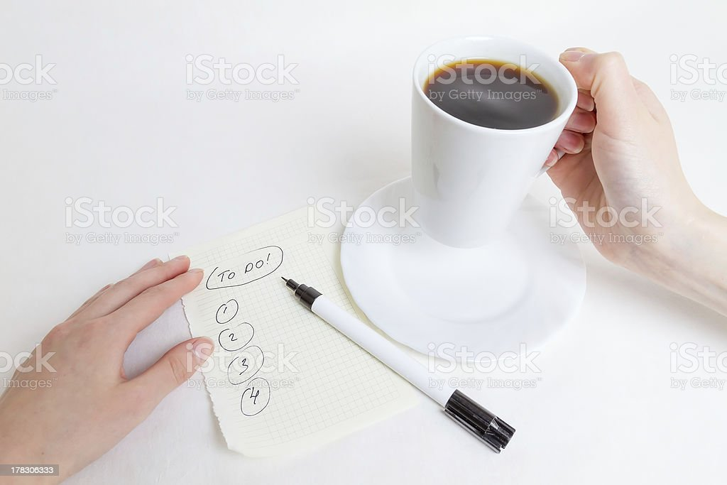 Coffe and list To Do royalty-free stock photo