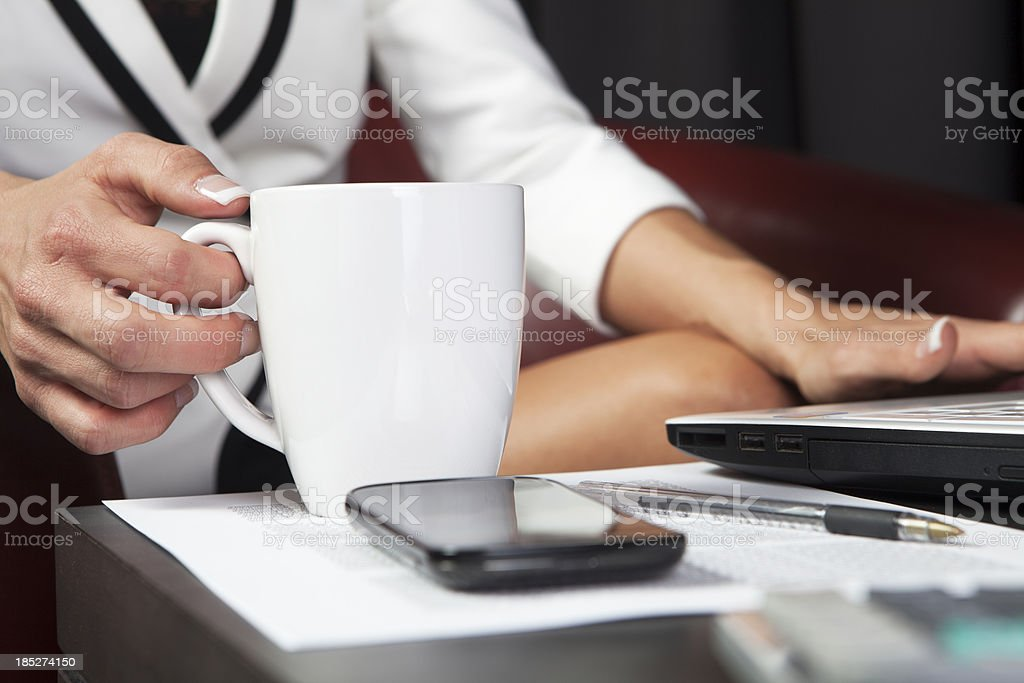 Coffe and typing royalty-free stock photo