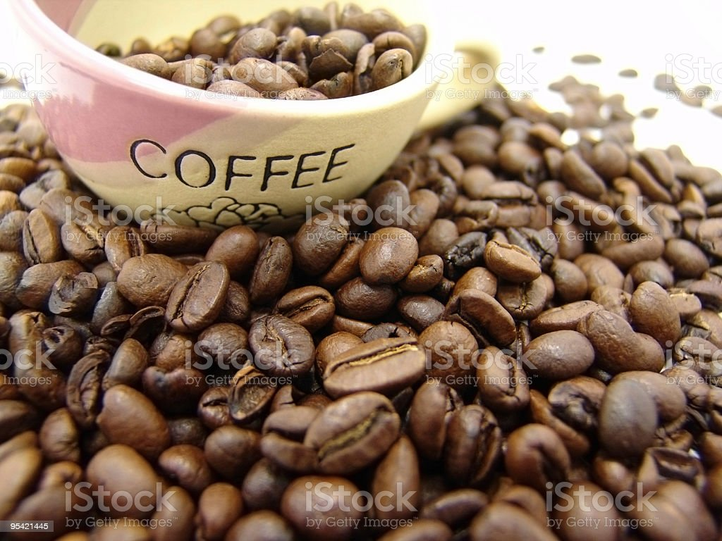coffe beans and cup royalty-free stock photo