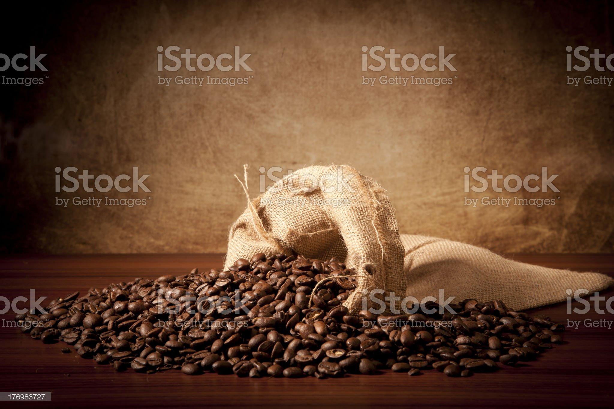 Coffe beans with juta bag royalty-free stock photo