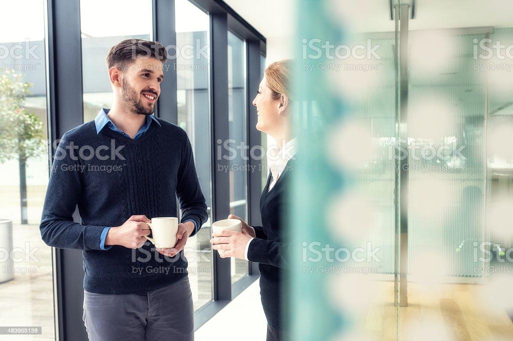 Coffe break at the office corridor stock photo