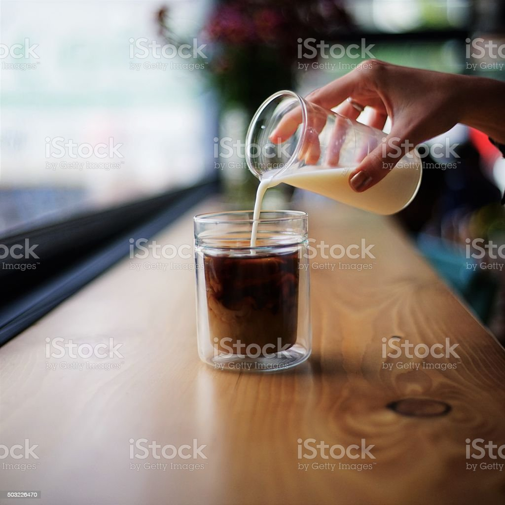 Coffe drink with cream stock photo