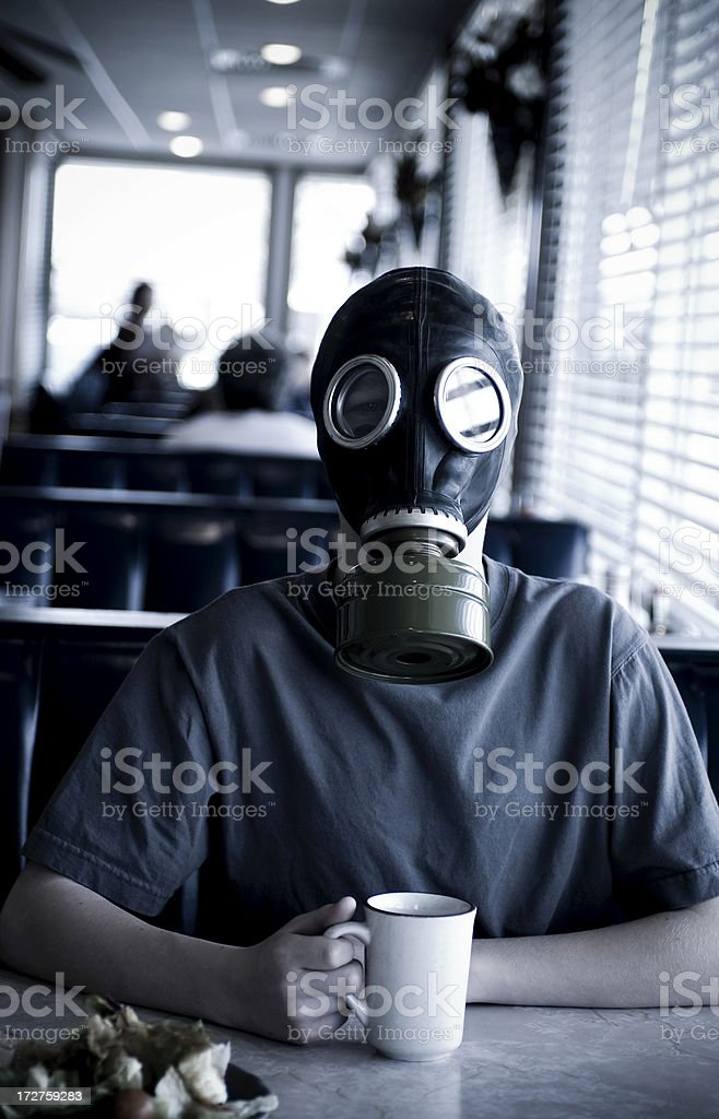 Coffe in a Gas mask stock photo