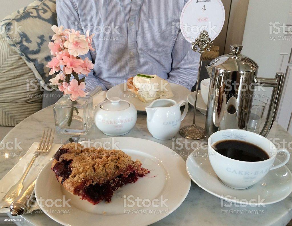 Coffe with dessert stock photo