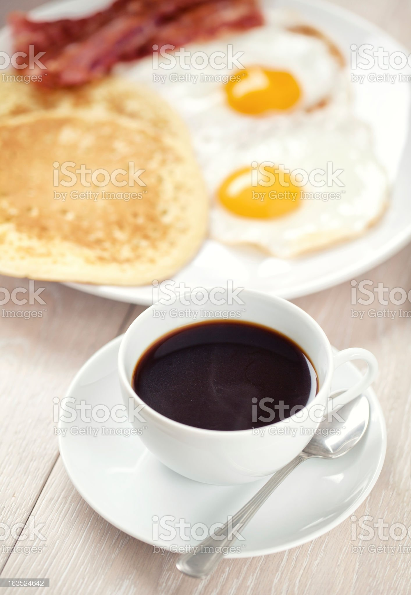 Coffe with Pancakes, Bacon and Eggs royalty-free stock photo