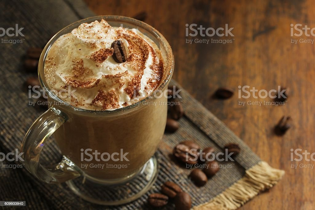 Coffe with whipped cream/ Coffee latte. selective focus stock photo