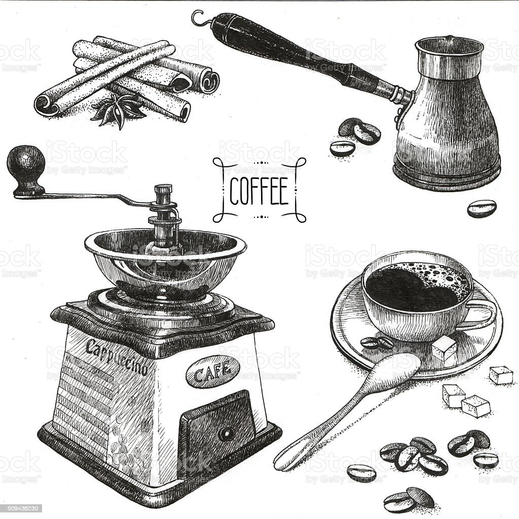 Coffee accessories drawings stock photo