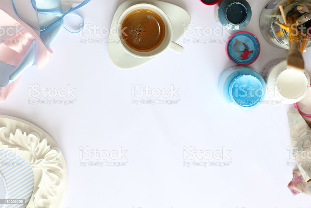 Coffee, accessory, paints, frame and crafting stock photo