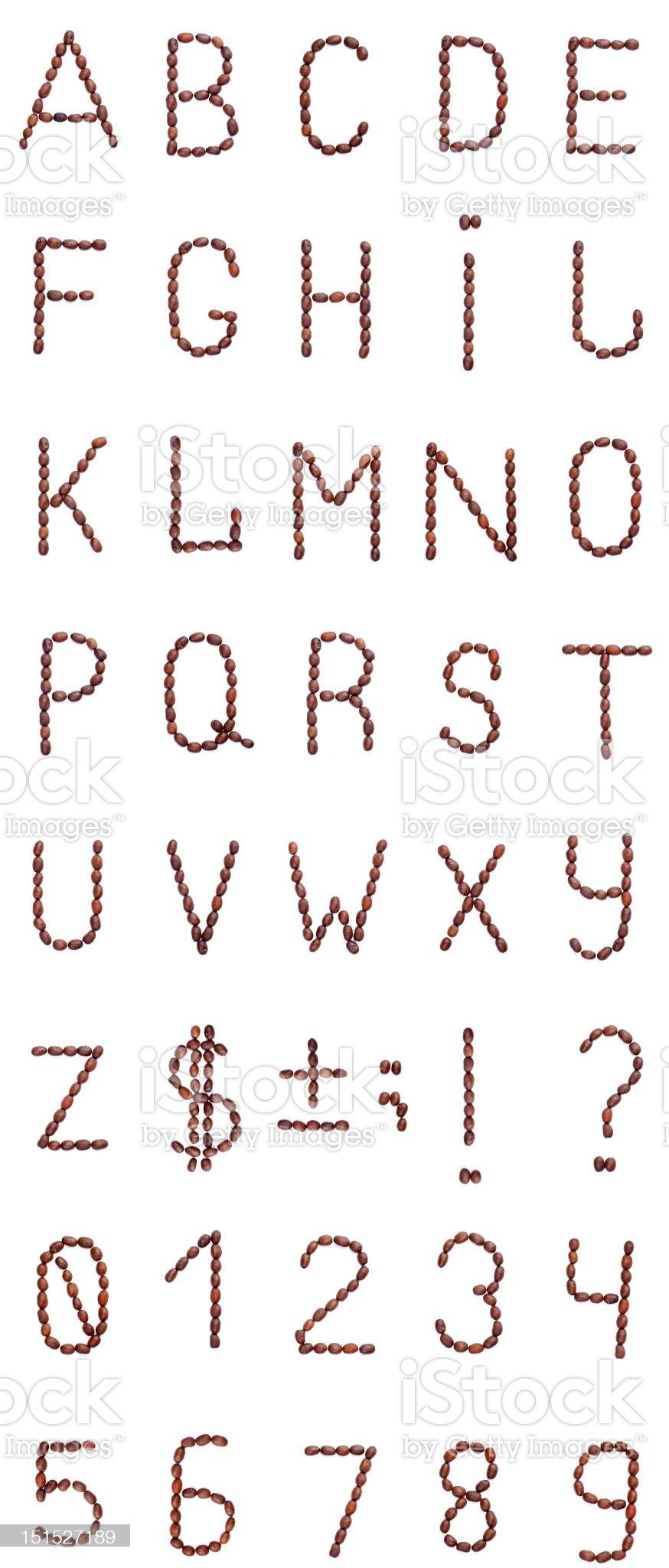 Coffee alphabet, digits and symbols isolated on white background royalty-free stock photo