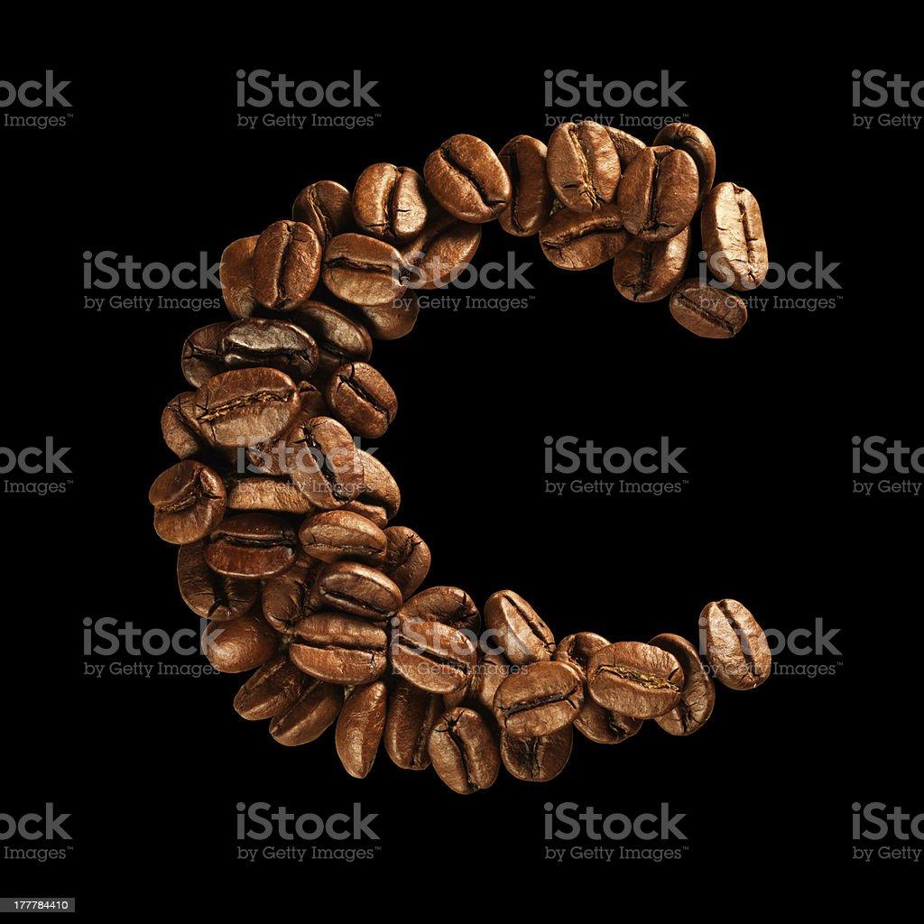 Coffee alphabet letter royalty-free stock photo