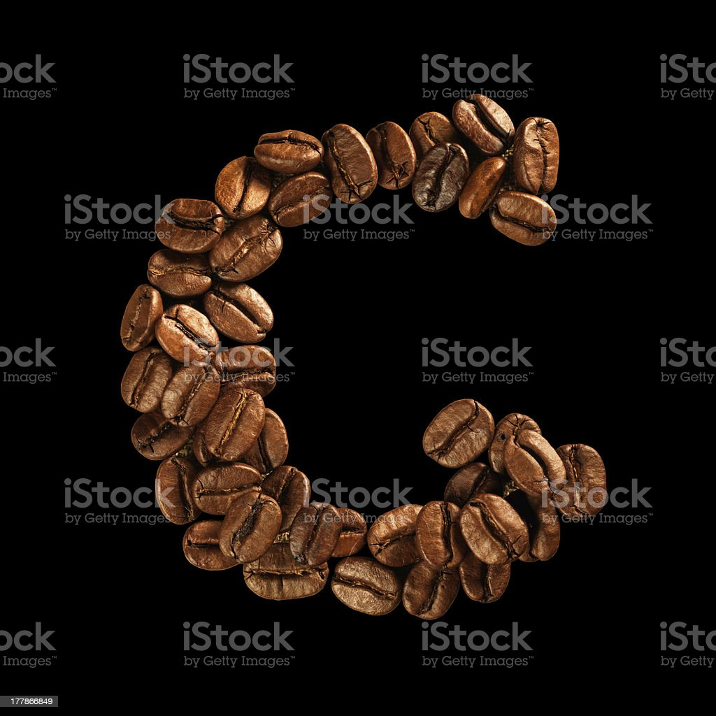 Coffee alphabet letter royalty-free stock photo