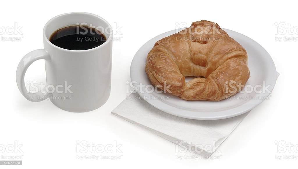 coffee & croissant royalty-free stock photo