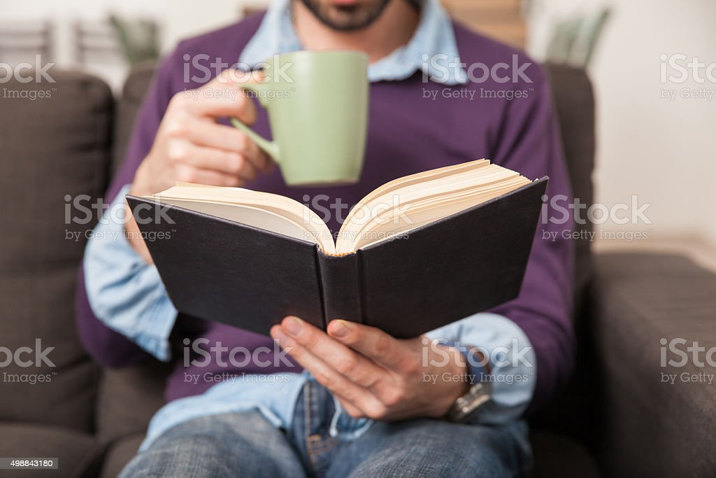 Coffee and a book are a good mix stock photo