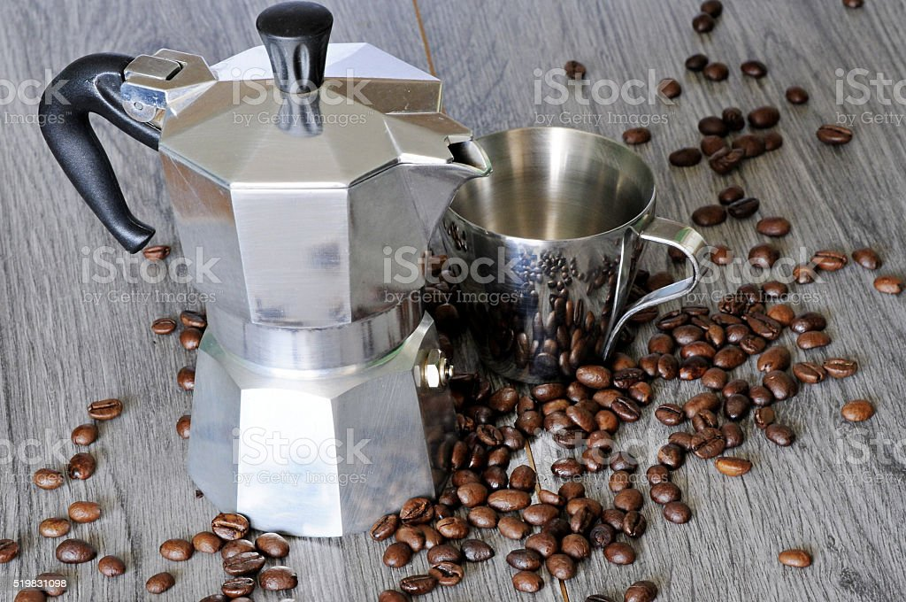 coffee and a cup of Italian coffee machine on a gray background stock photo