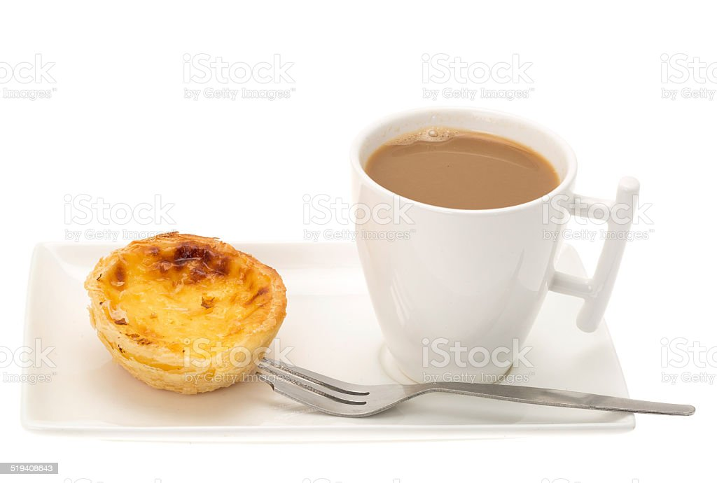 Coffee and a custard tart stock photo
