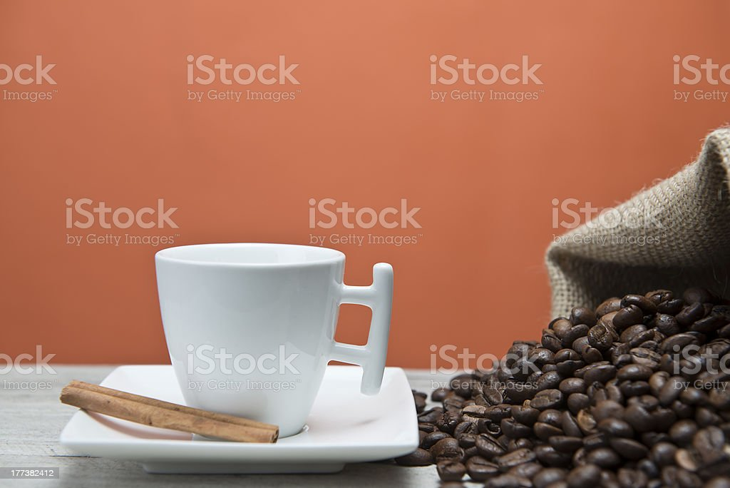 Coffee and a sack of beans. royalty-free stock photo