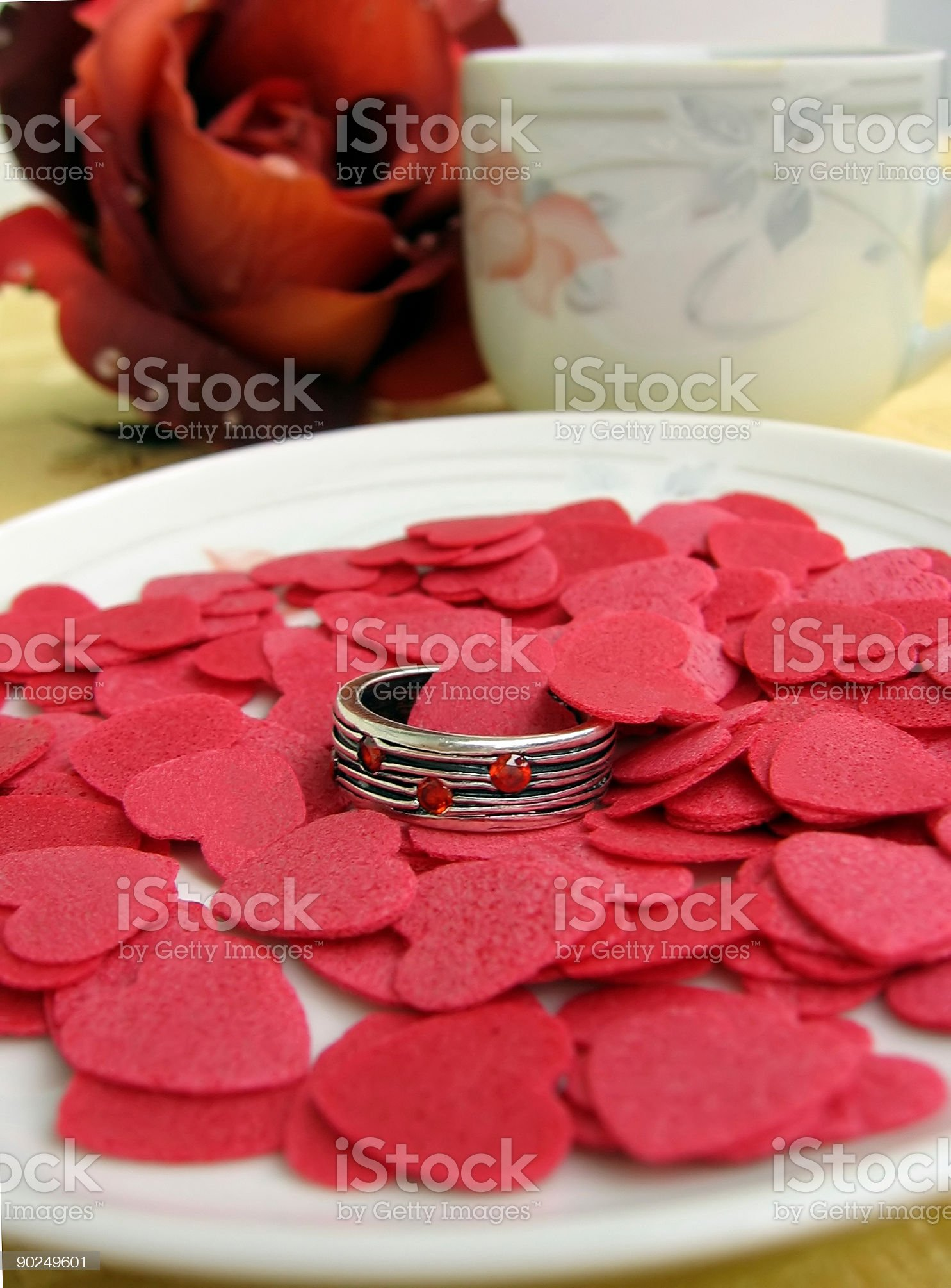 Coffee and an engagement ring royalty-free stock photo
