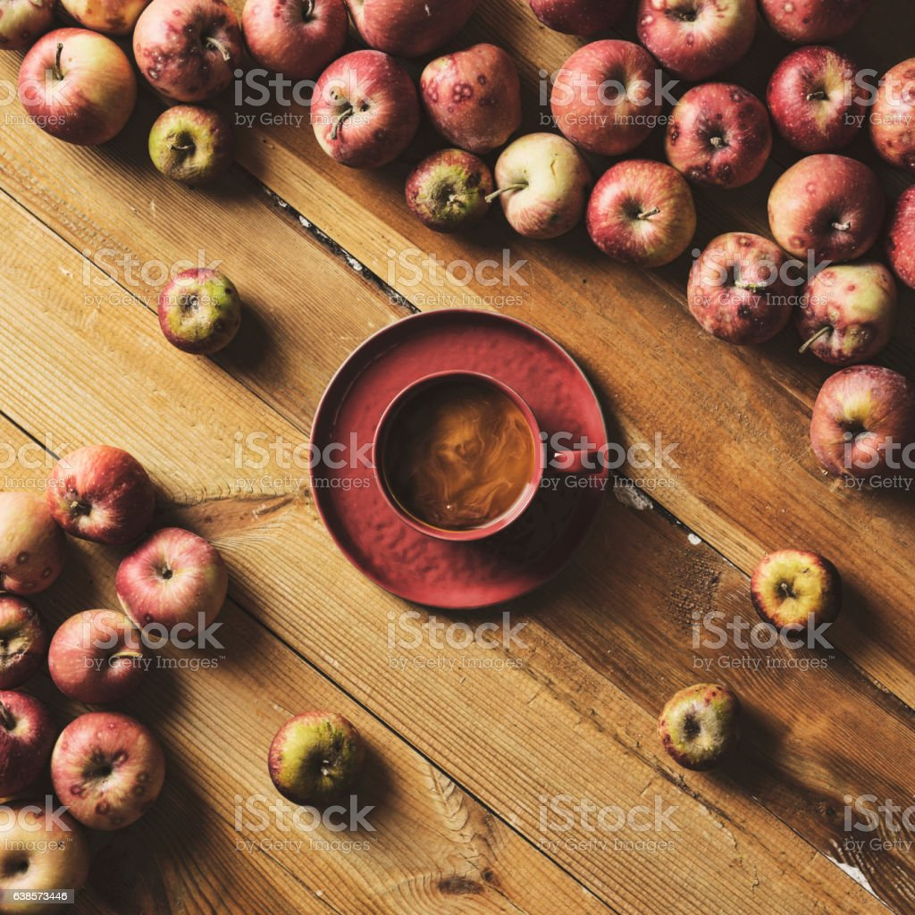 Coffee and apples stock photo
