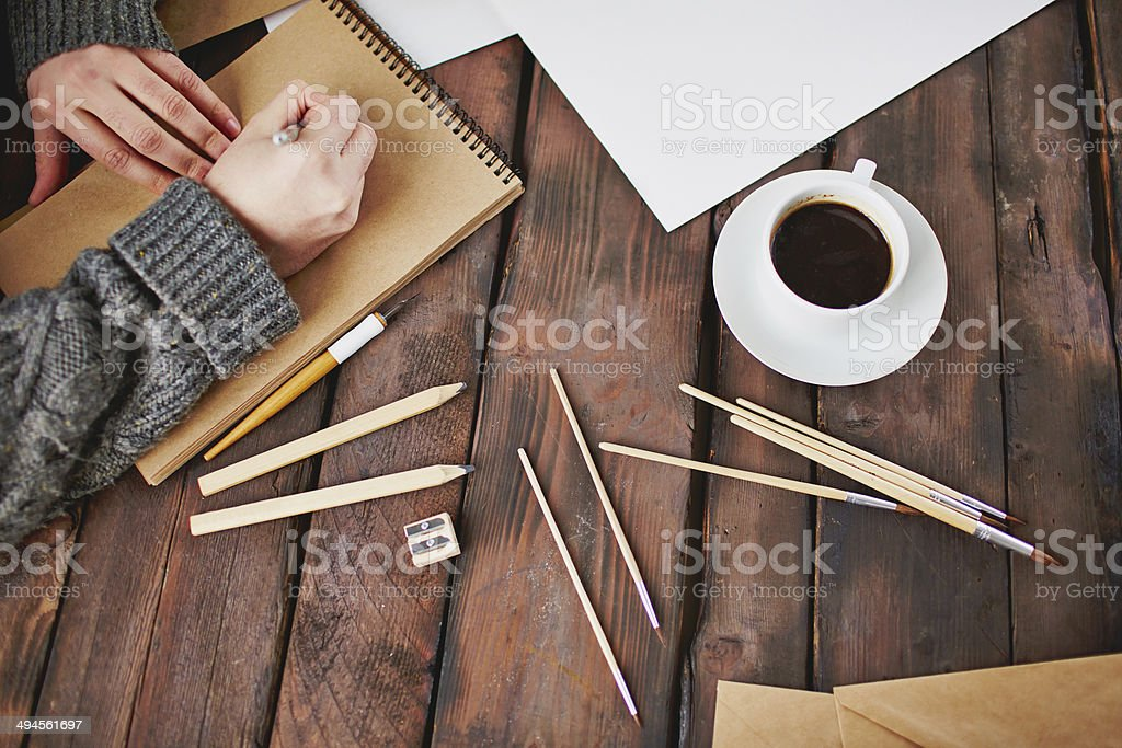 Coffee and art objects stock photo