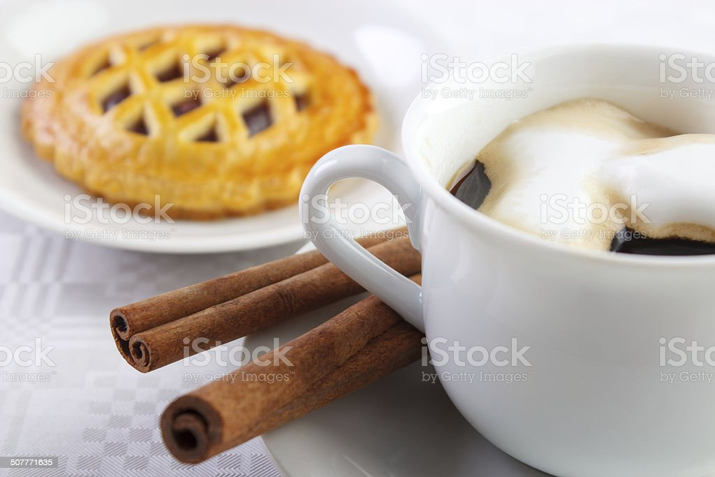 Coffee and berry shortcake stock photo