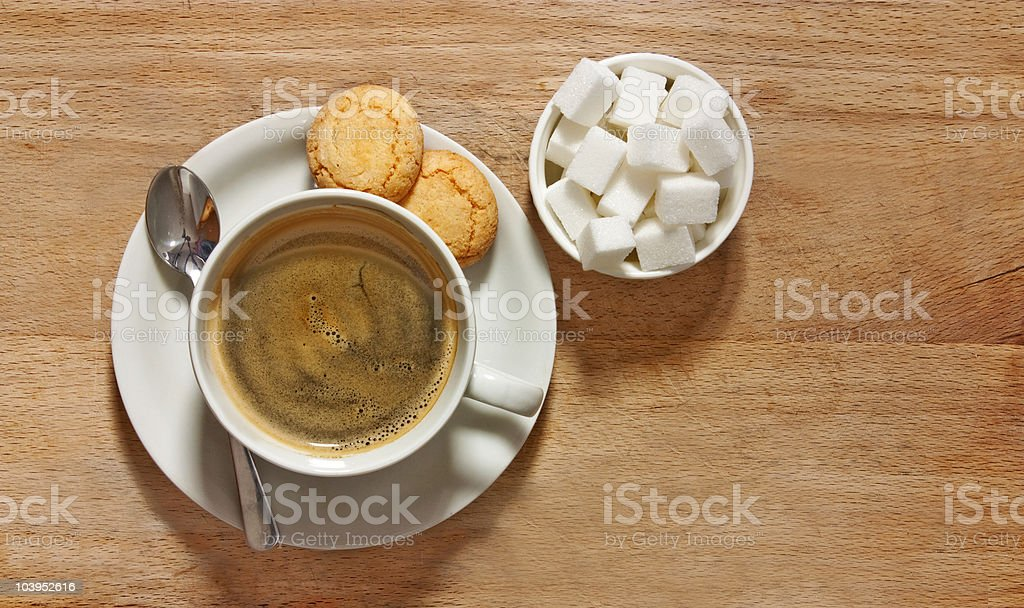 coffee and biscuits on table from above royalty-free stock photo