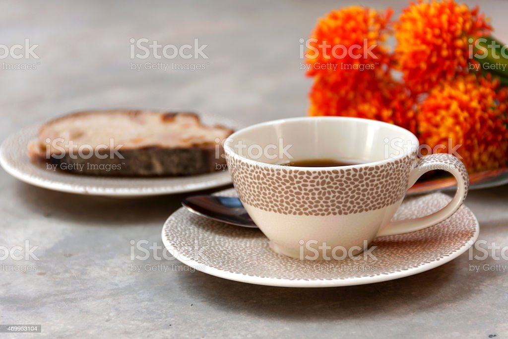 coffee and bread background royalty-free stock photo