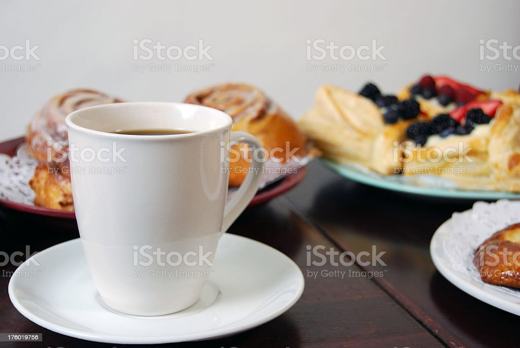 Coffee and Breakfast Pastries royalty-free stock photo