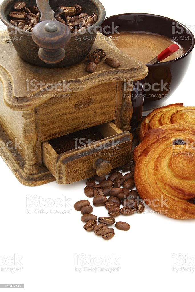 Coffee and buns on a white background. royalty-free stock photo