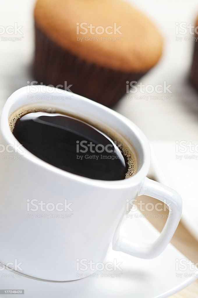 Coffee and cake in the background. stock photo