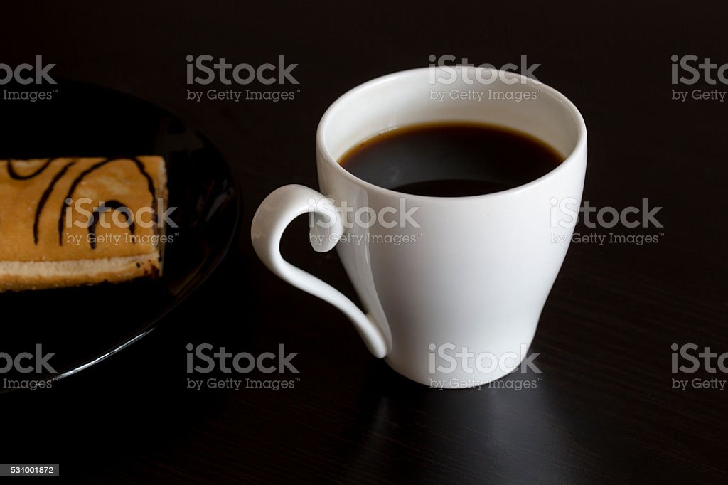coffee and cake on table stock photo