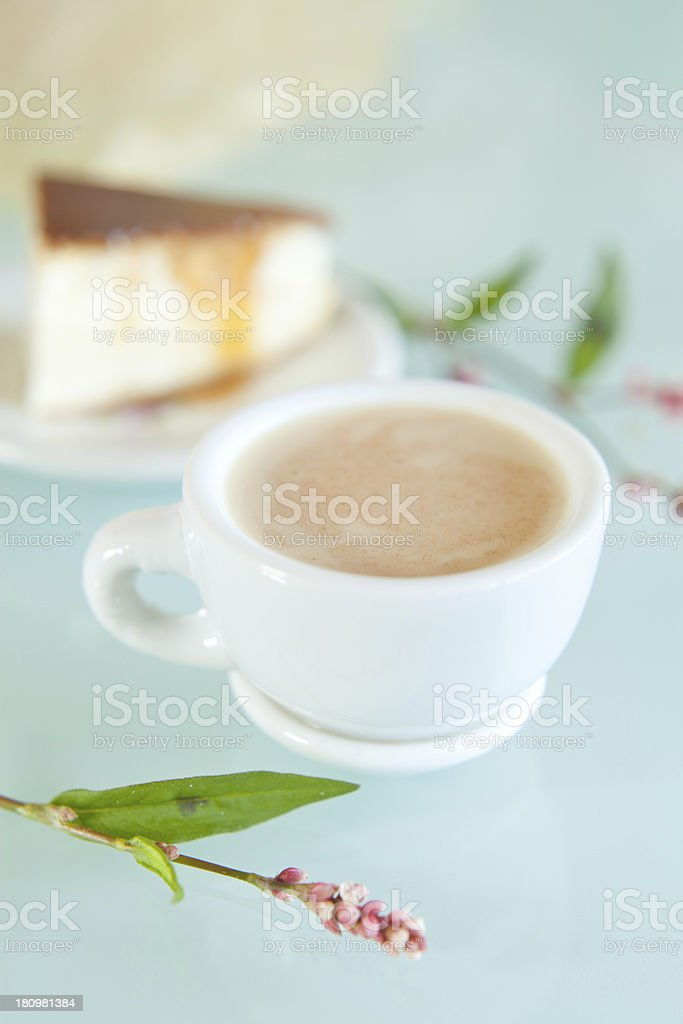 Coffee and cheesecake royalty-free stock photo