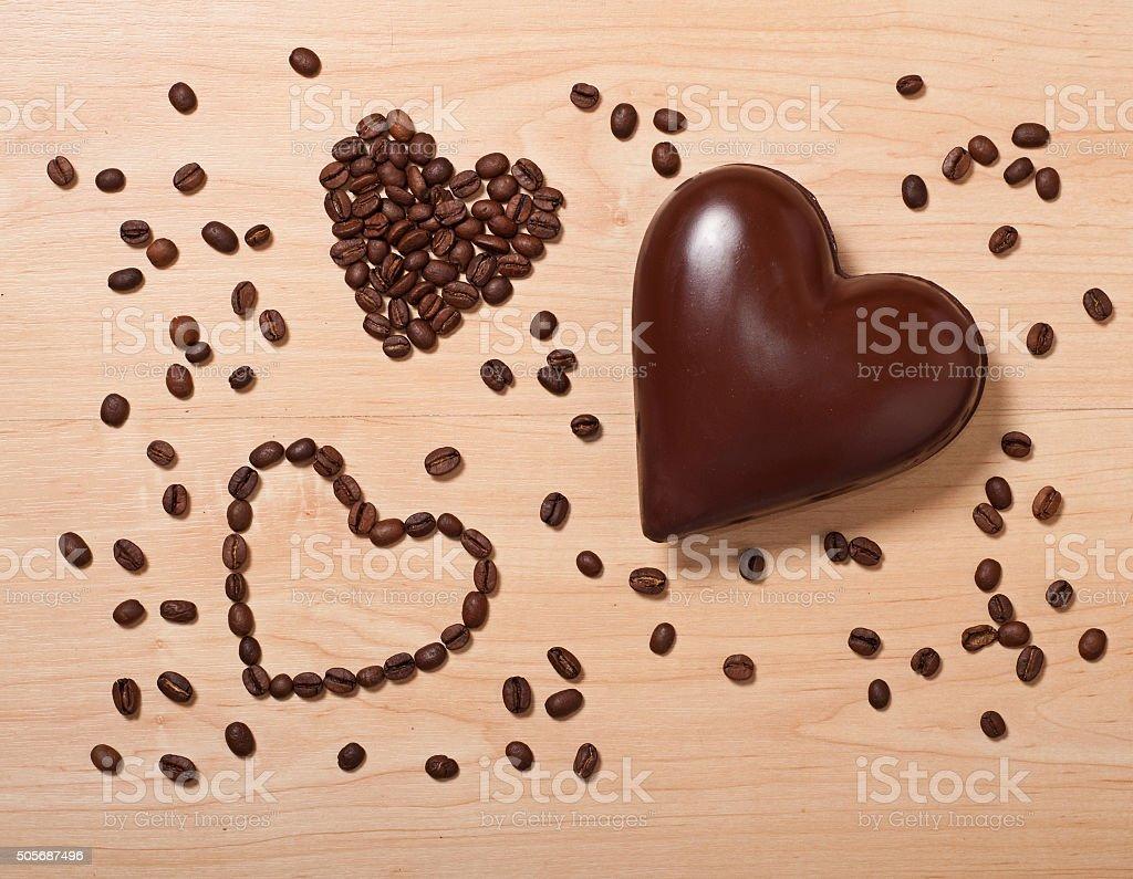 coffee and chocolate hearts stock photo