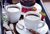 Coffee and chocolate muffins for breakfast