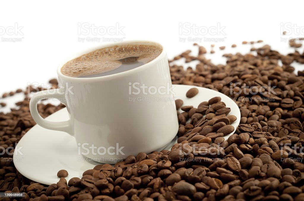 Coffee and coffe beans stock photo