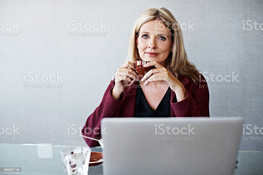 Coffee and connectivity stock photo