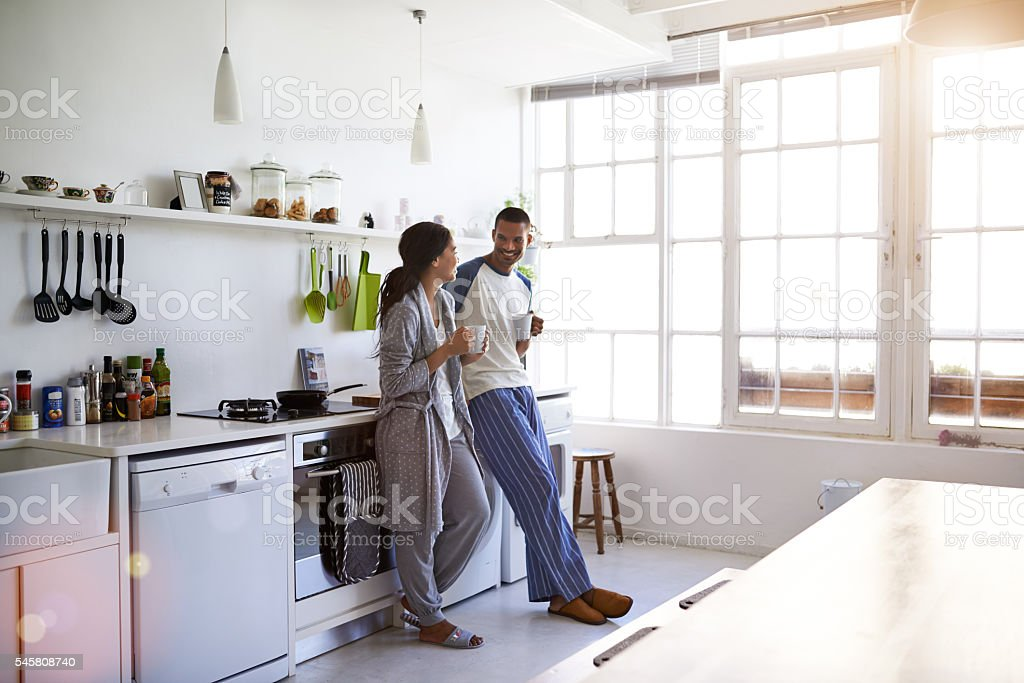 Coffee and conversation in the morning stock photo