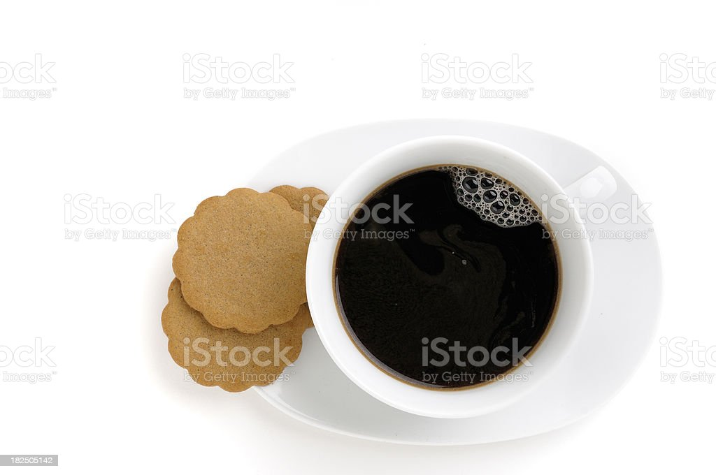 coffee and cookies on white royalty-free stock photo