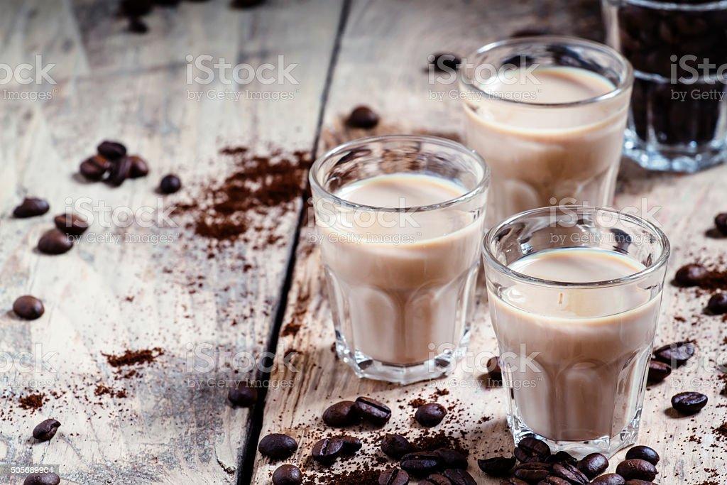 Coffee and cream liqueur stock photo