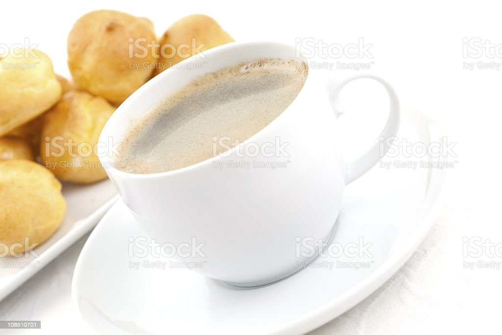 coffee and cream puff royalty-free stock photo