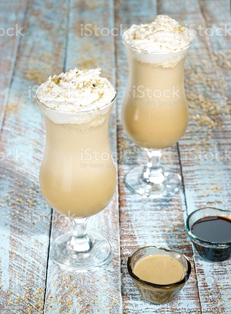 Coffee and cream,Irish cream stock photo