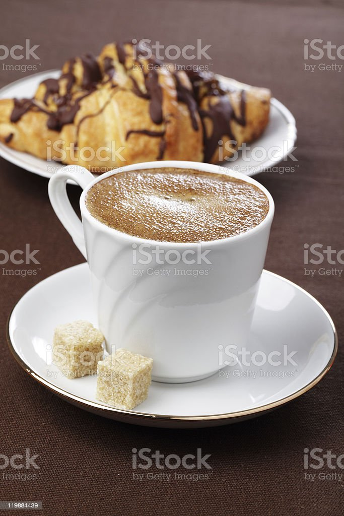 Coffee and croissant royalty-free stock photo