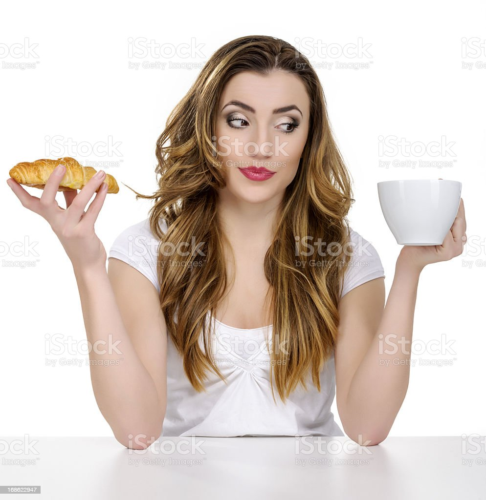 coffee and croissant stock photo
