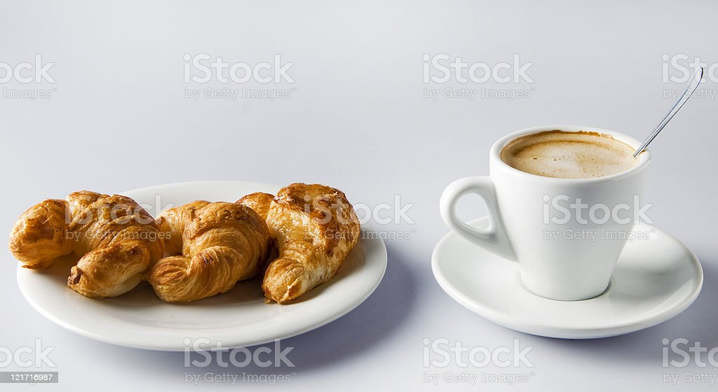 Coffee and croissants. stock photo