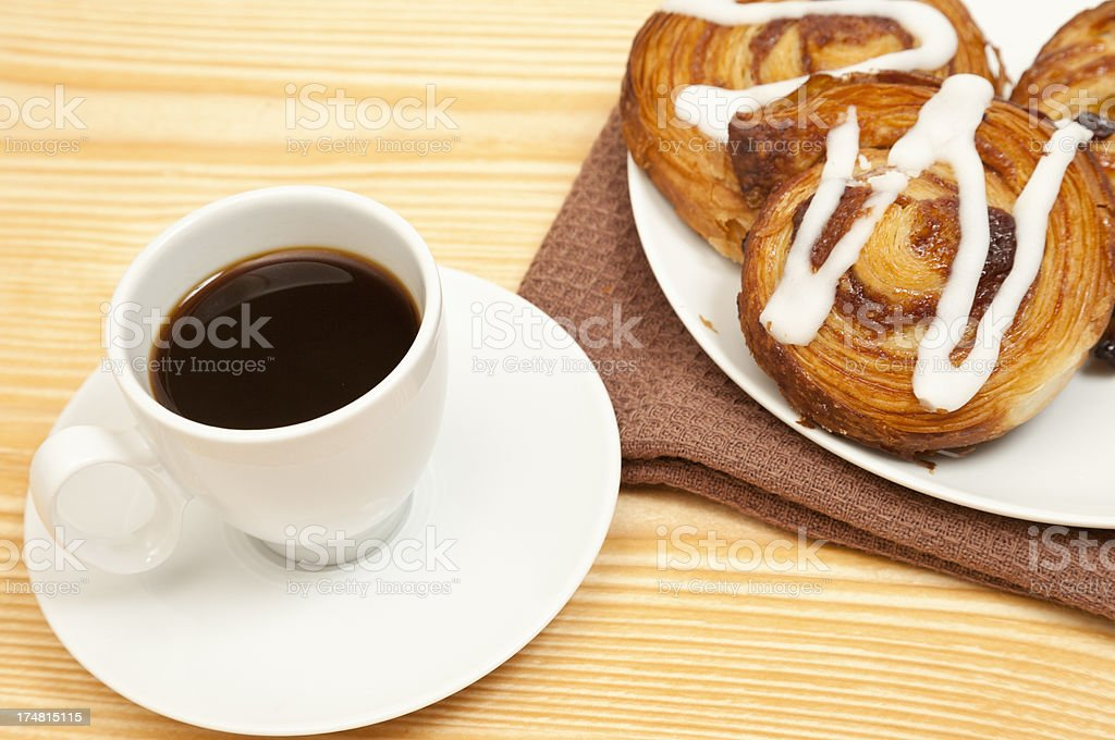 Coffee and Danish Pastries royalty-free stock photo