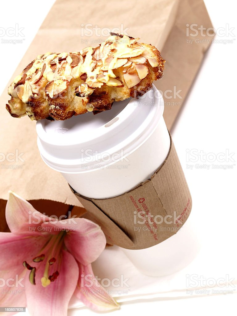 Coffee and Danish to go stock photo