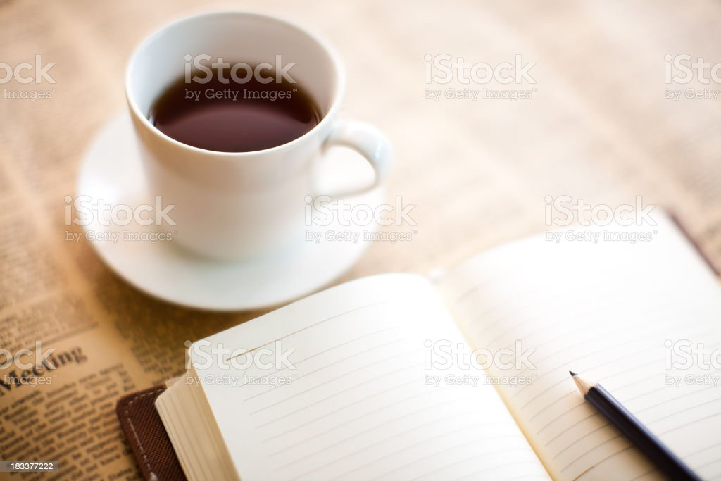 Coffee and Diary royalty-free stock photo