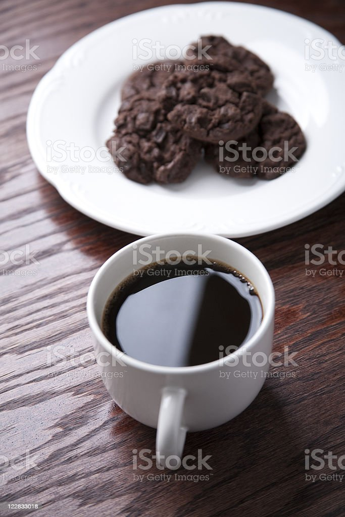 Coffee and double chocolate cookies royalty-free stock photo