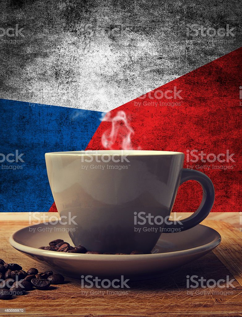 coffee and flag stock photo